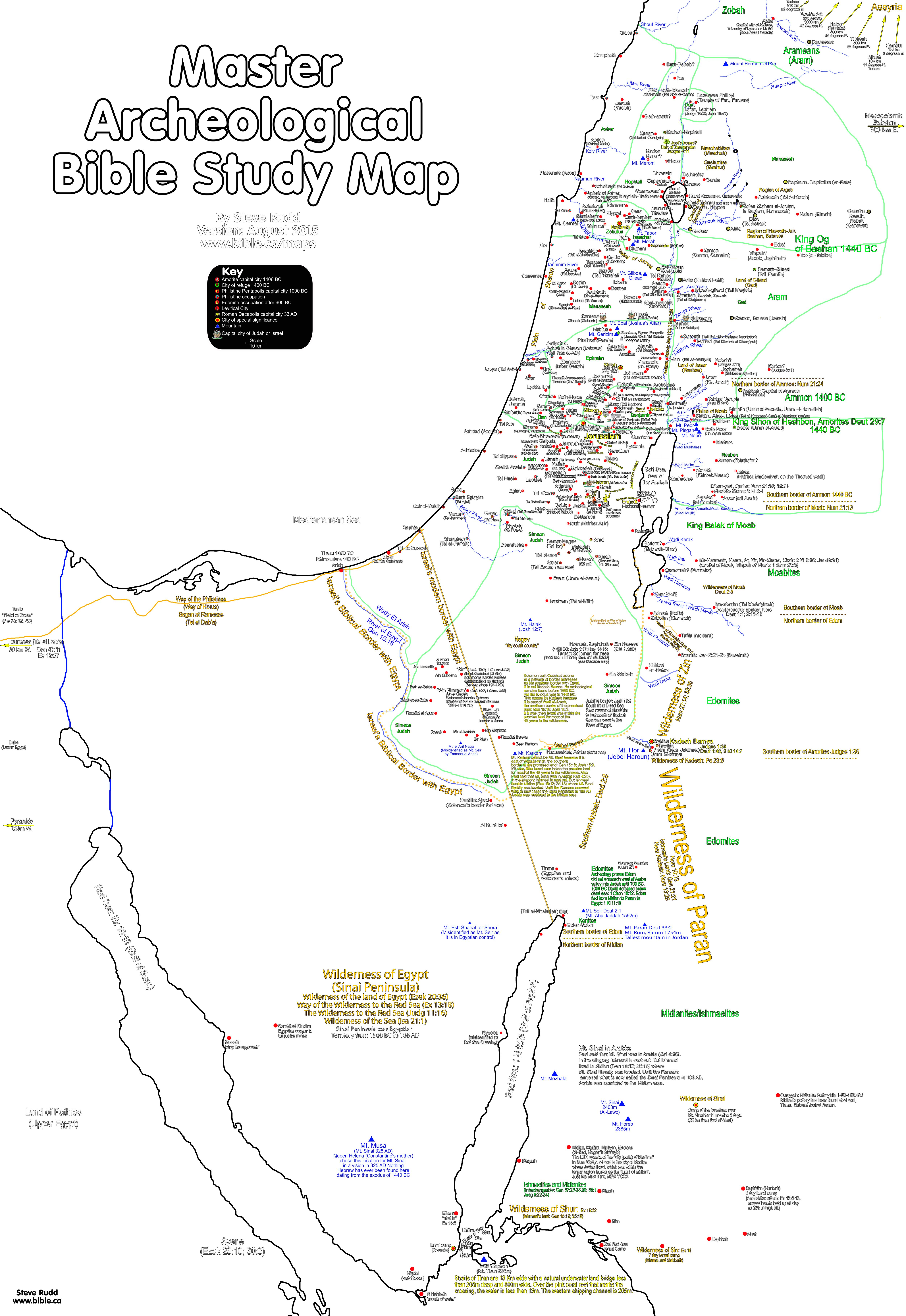 Bible Maps Master archeological bible study map of the promised