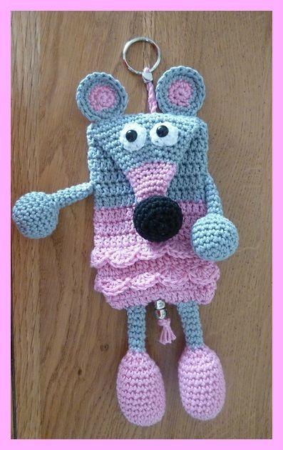 Amigurumi crochet porte cl souris h keln poup es en crochet porte cl porte clef crochet - Porte cle crochet ...