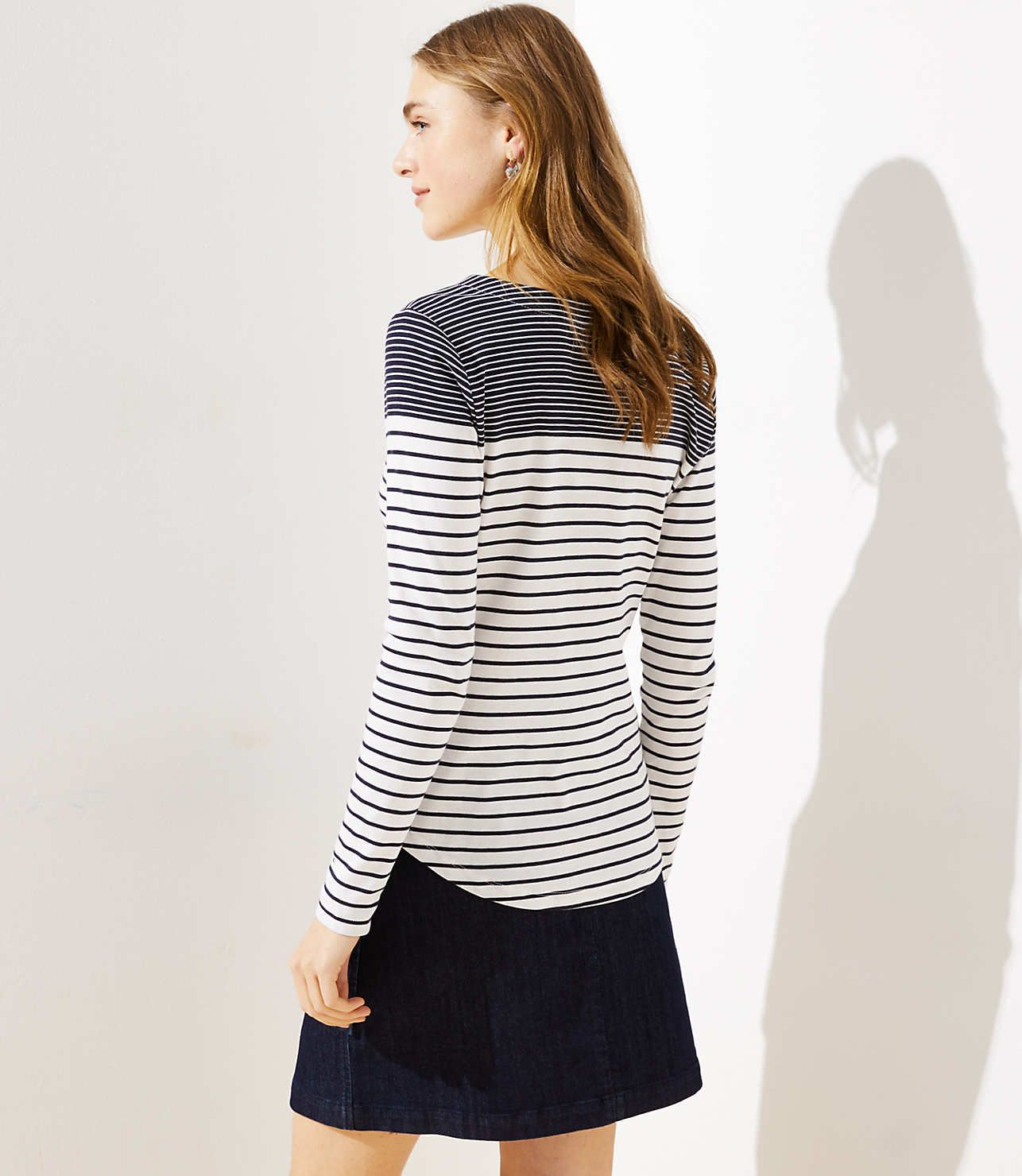 c9c63ba0a1 Maritime Stripe Long Sleeve Shirttail Tee | LOFT | Clothes & Jewelry ...