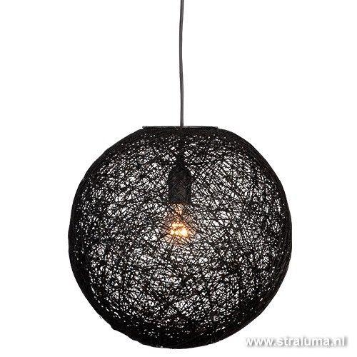 Abaca hanglamp bol zwart rond slaapkamer - www.straluma.nl   Hal ...
