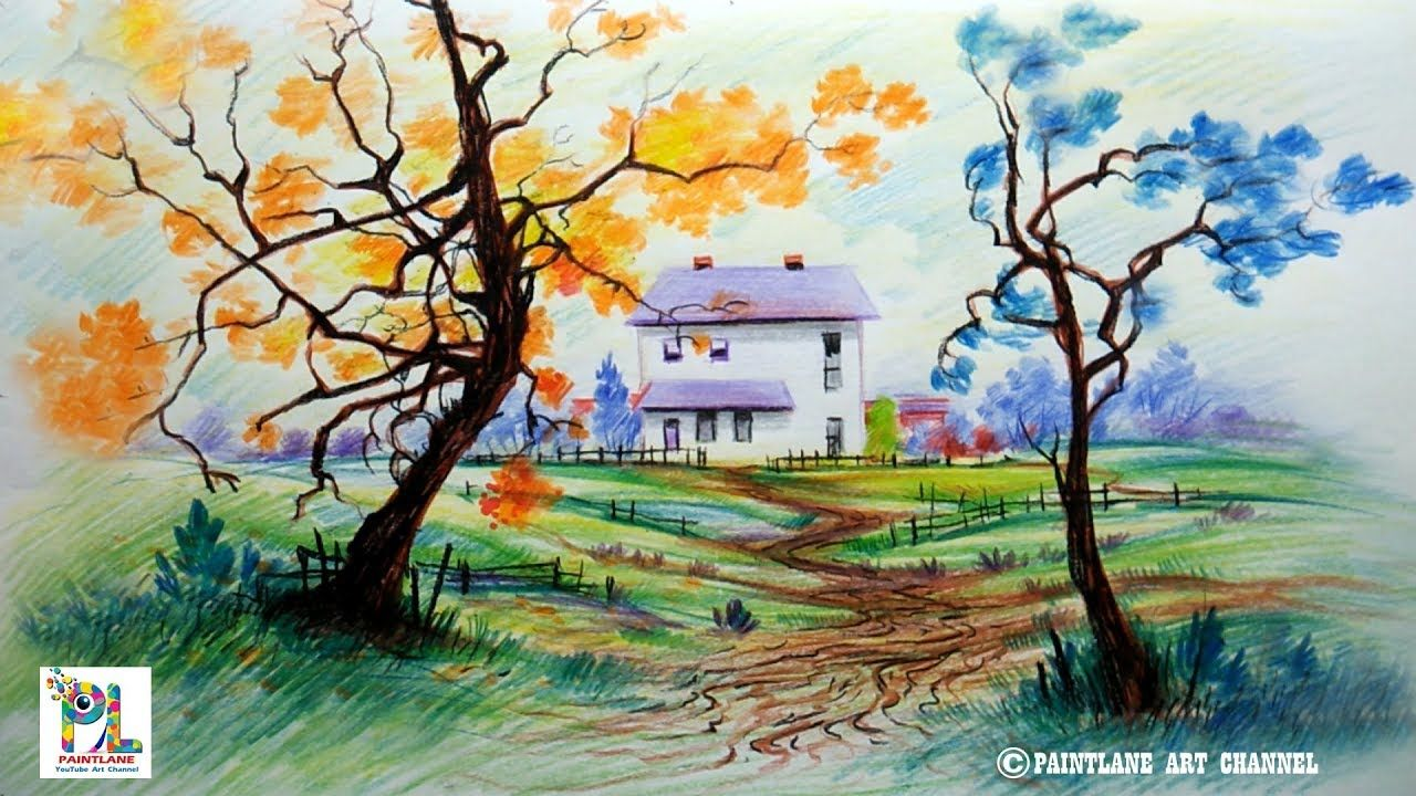 How to draw scenery with color pencils for beginners step by step