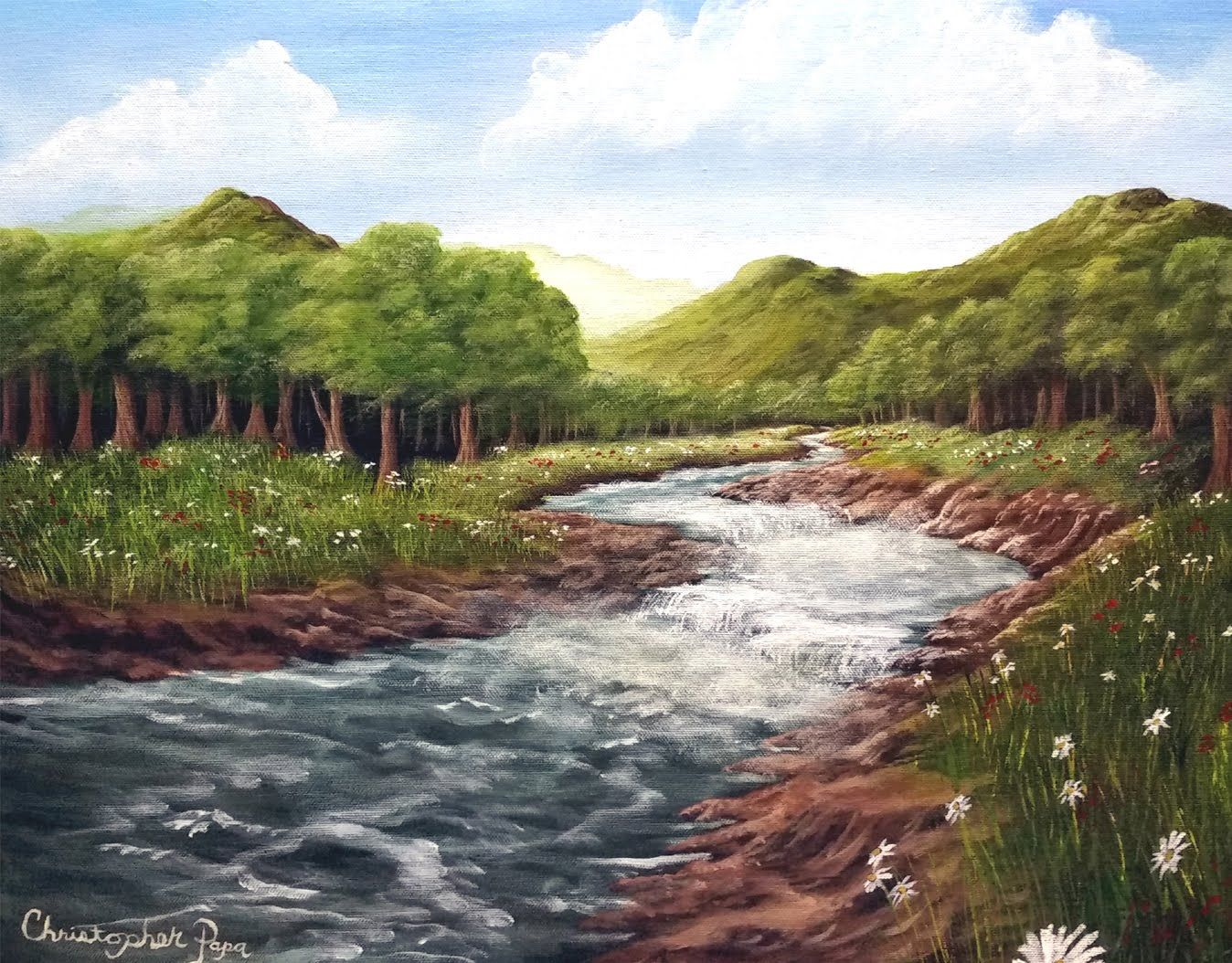 Painter In You Acrylic Landscape Painting Lesson Mountain Meadow Riv Landscape Painting Tutorial Landscape Paintings Landscape
