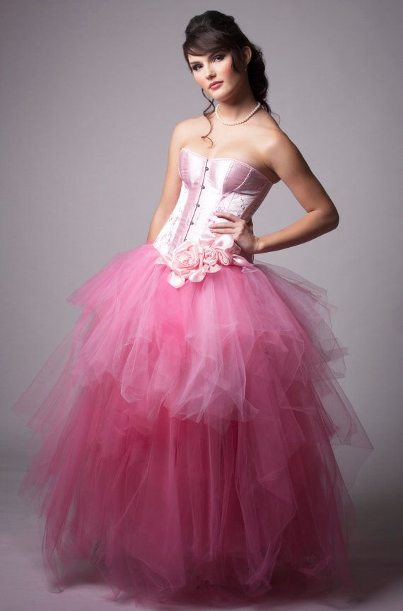 Custom Pink Rose Corset Evening Wedding Prom Dress | Pink roses ...