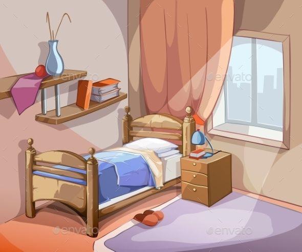 Bedroom Interior In Cartoon Style Casas Fotos