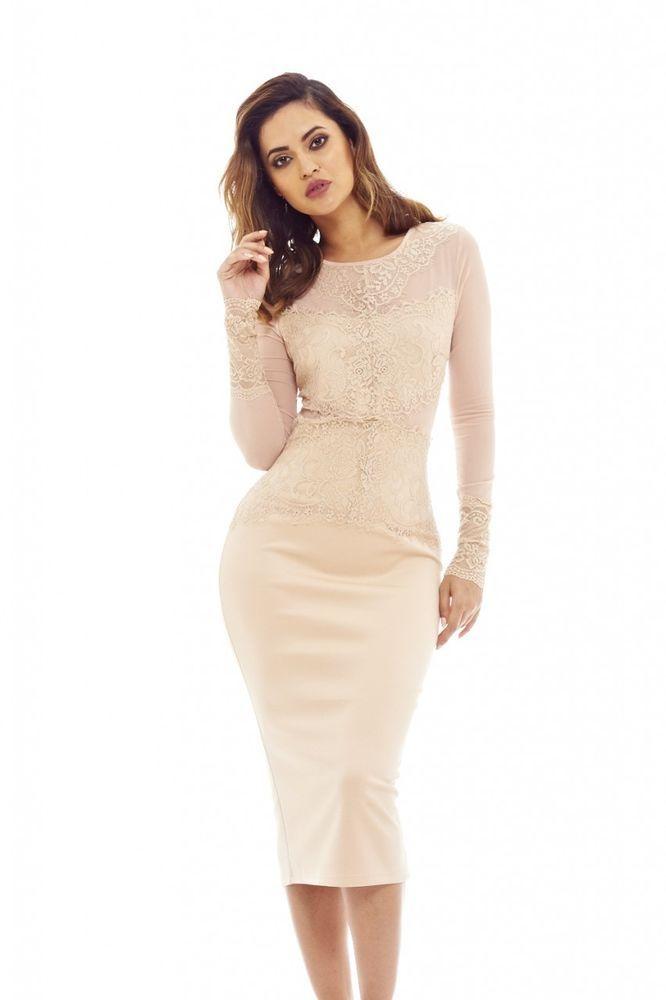 AX Paris Womens Nude Lace and Mesh Midi Dress Glamorous Stylish Fashion 9ded501ea