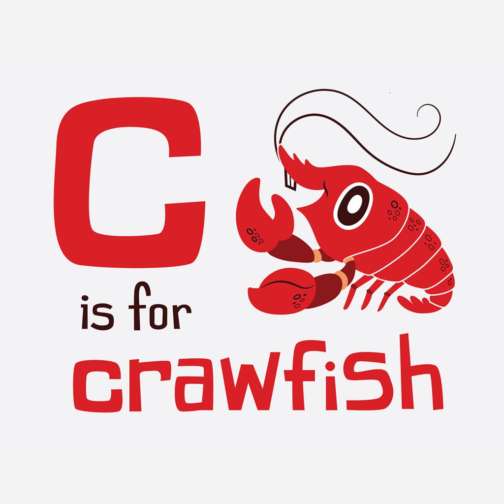 C is for Crawfish Kids Crawfish season, Louisiana