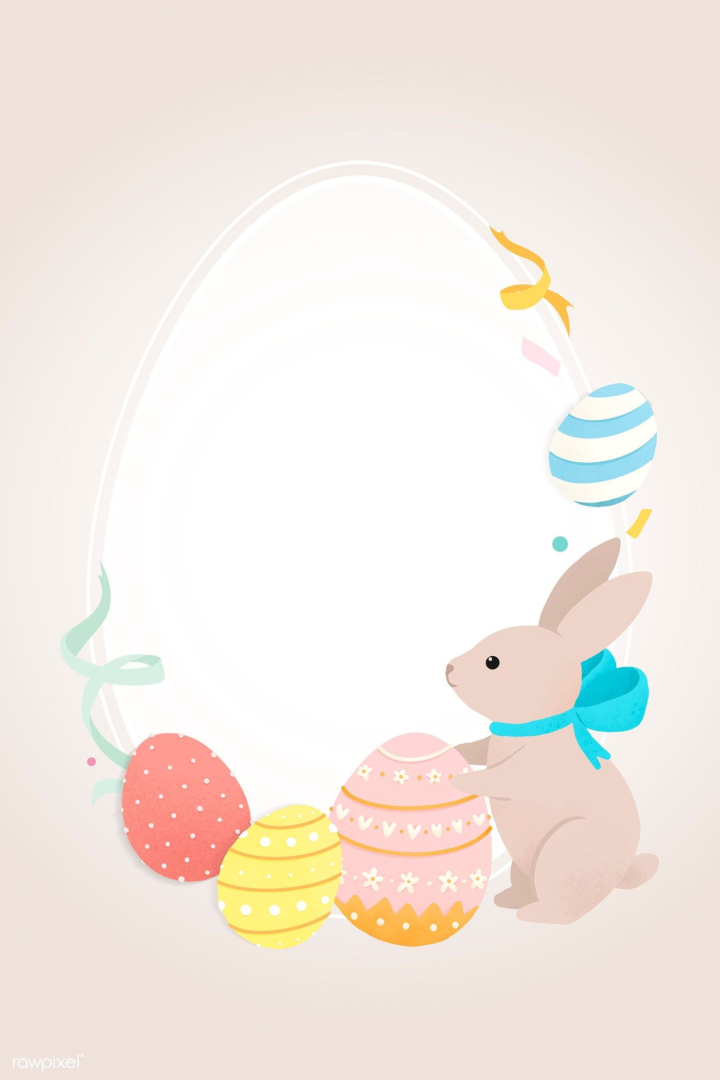 Oval Easter Frame With Bunny And Eggs Vector Free Image By Rawpixel Com Sasi Easter Frame Egg Vector Easter Bunny Template