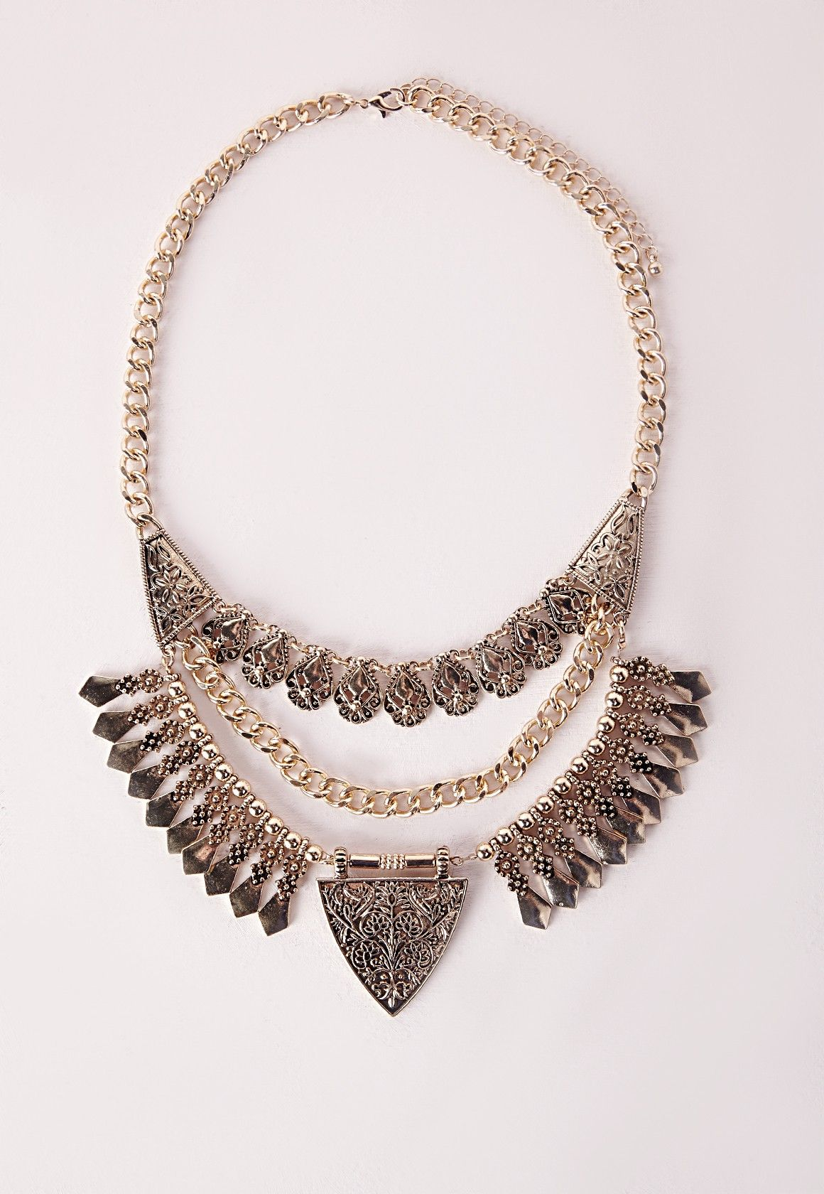 Missguided - Layered Tribal Necklace Gold