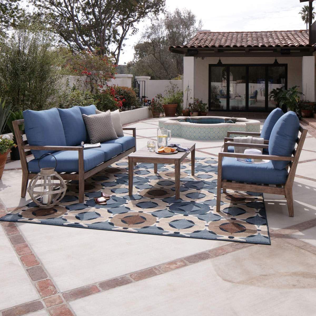 Aruba Sofa & 2 Club Chairs In Natural Home Patio