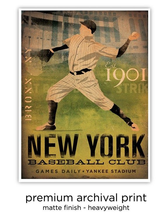 New York Yankees Baseball Club graphic artwork giclee archival print ...
