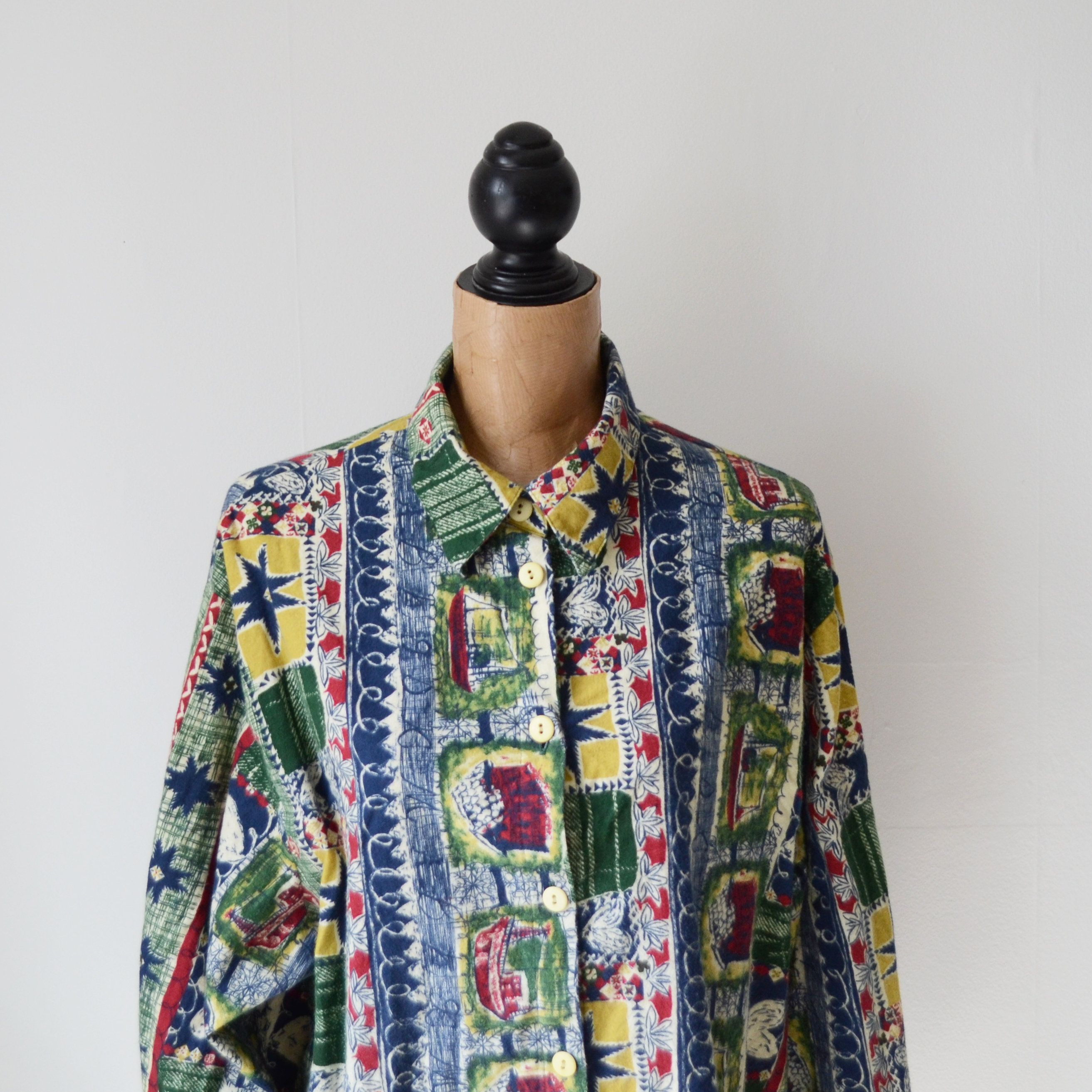 Flannel shirt vintage  Vintage us Abstract Pattern Shirt Size  Cotton Shirt