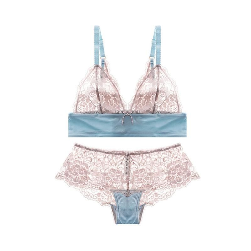Varsbaby New Women s Sexy Lace Unlined Floral Wire Free Underwear  Ultra-thin Bra Set 94fe182cb