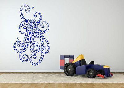 Wall Room Decor Art Vinyl Sticker Mural Decal Tribal Octopus Tentacles AS1487