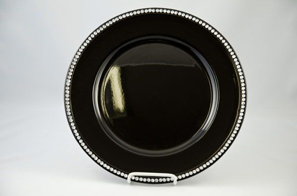 Black Charger With Beaded Edges Where To Rent Charger Plate Black Clear Bead In Saskatoon Sk Regina Black Charger Plates Black Charger Charger Plates