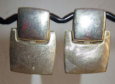 VINTAGE ESTATE GOLDTONE UPHOLSTERY STYLE DANGLE PIERCED EARRINGS