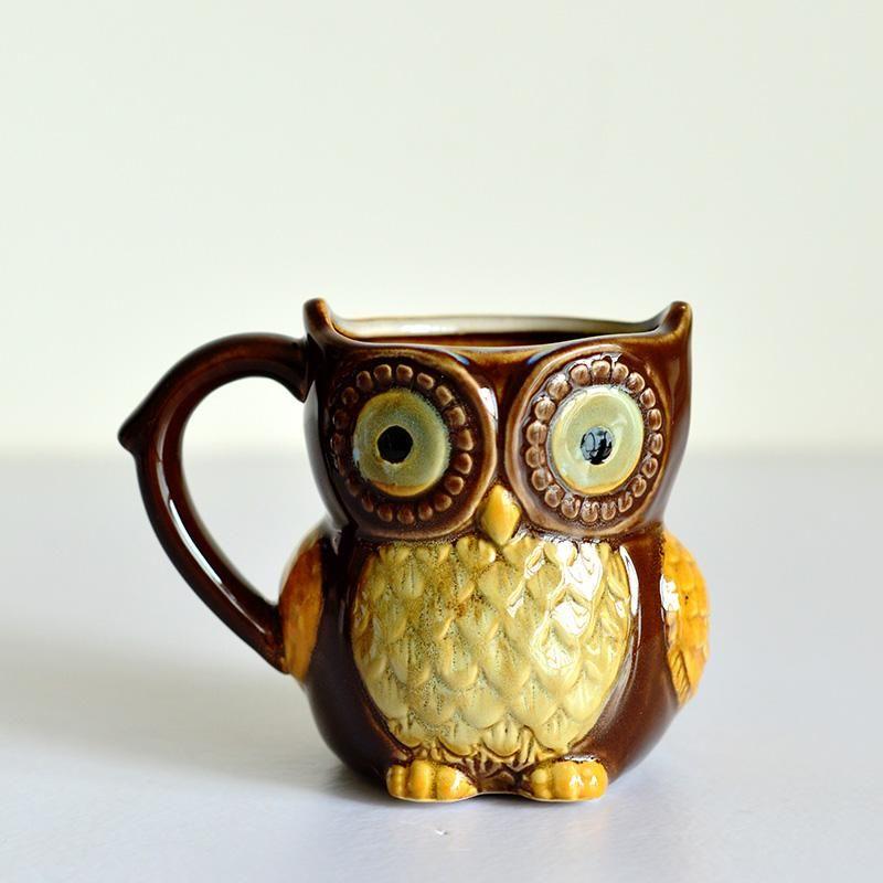 Hand-Painted Owl Ceramic Coffee Mug | Ceramic | Pinterest ...