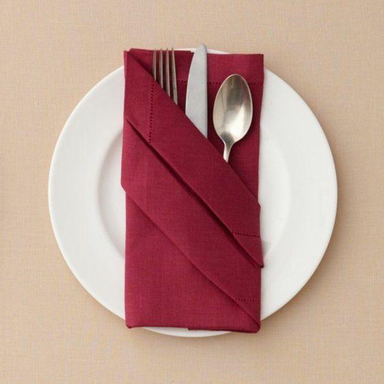 Stoffservietten Falten Anleitung Bestecktasche Tischdeko Stoffservietten  Falten