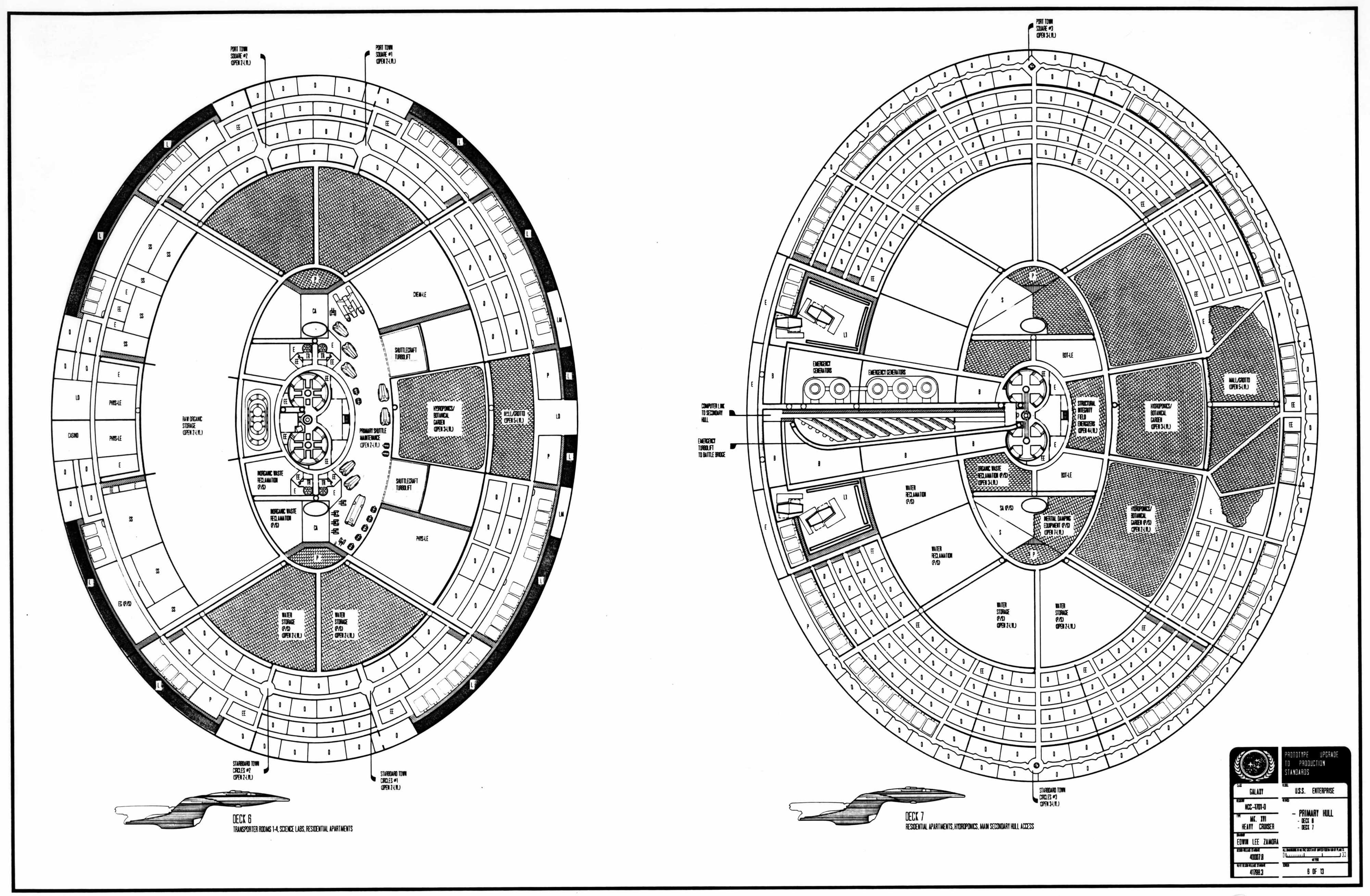 Schematic Of Decks 6 And 7 Of U S S Enterprise Ncc D