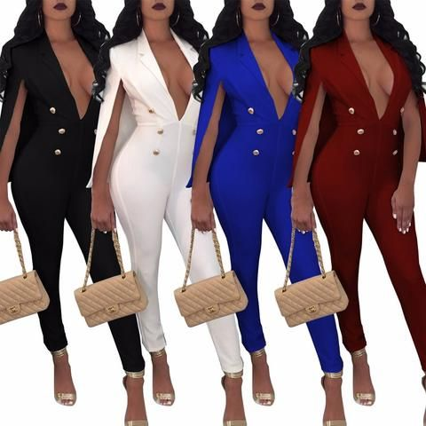 704755a917 Elegant England Style long pencil pant office jumpsuit women romper 2018  Cloak sexy v neck button bodycon bandage overall outfit