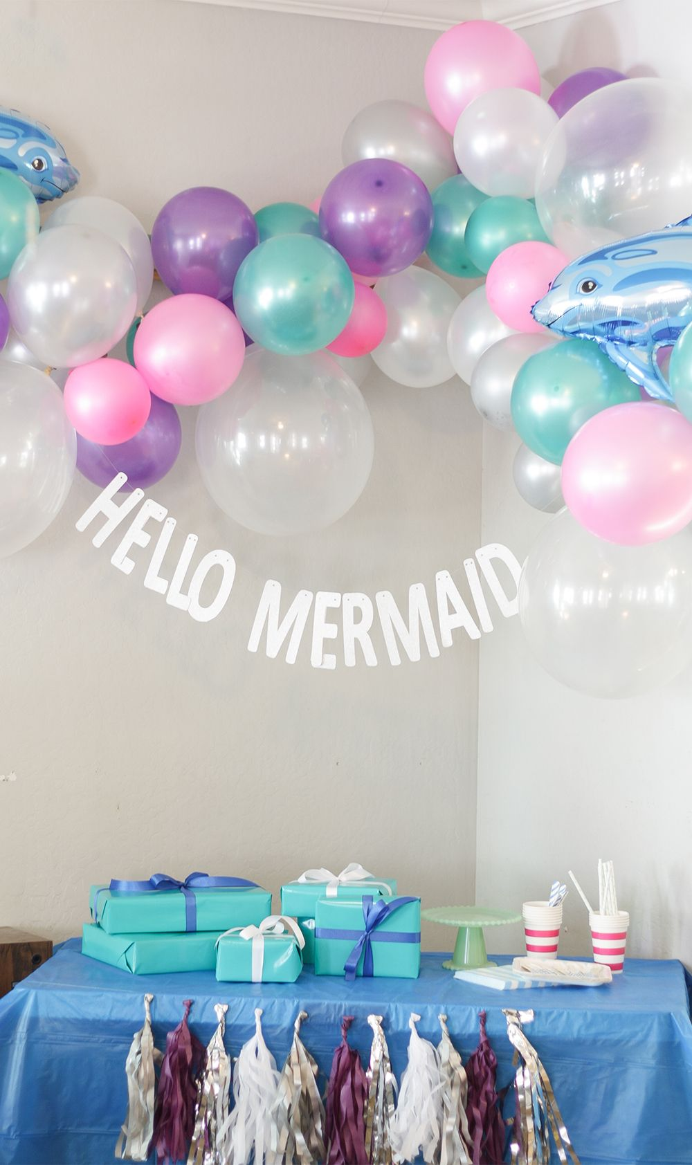 Create A Magical Mermaid Party Backdrop With Balloons And Silver Glitter Letters Just Artifacts Mermaid Balloons Balloon Clusters Balloon Decorations Party