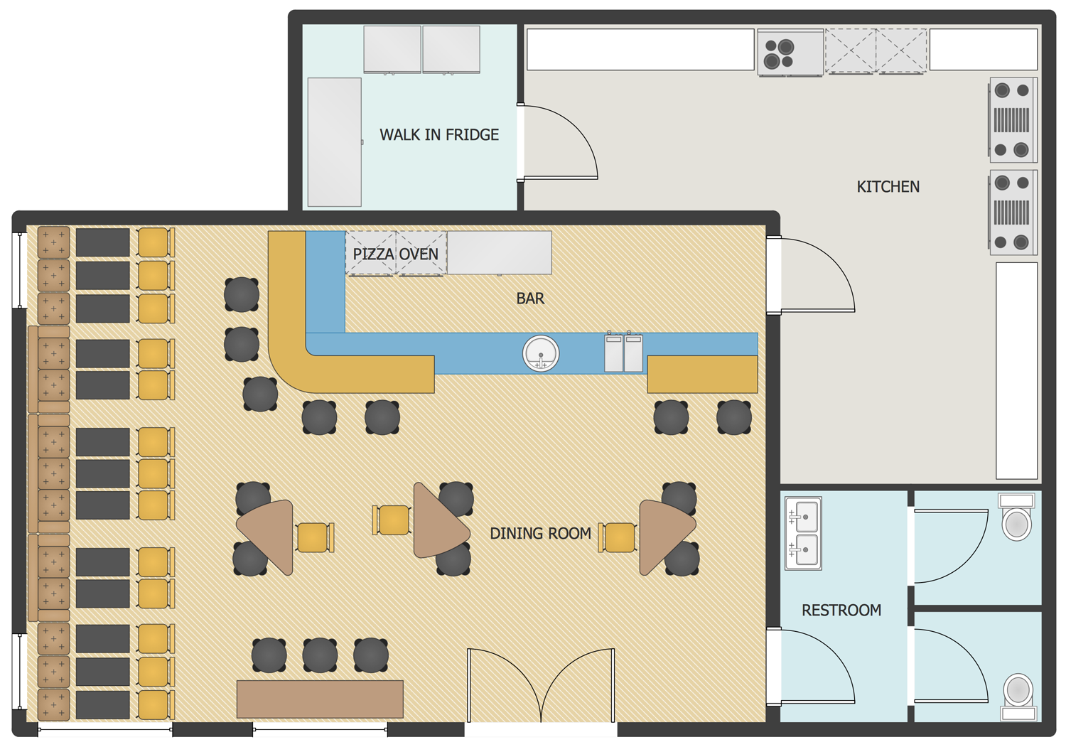 This Sample Shows A Floor 3plan Layout Of Premises In A Pizzeria As Well As The Location Of The Furn Restaurant Floor Plan Cafe Floor Plan Restaurant Plan