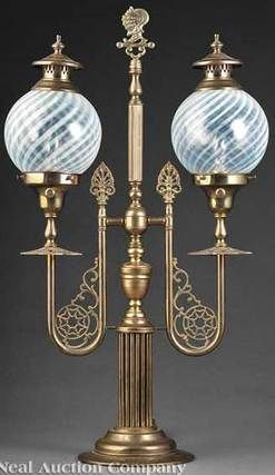 Newel Post Lamp Gas Double Brass Knight Helmet Finial Glass Shade 27 Inch Victorian Lamps Antique Oil Lamps Glass Lamp