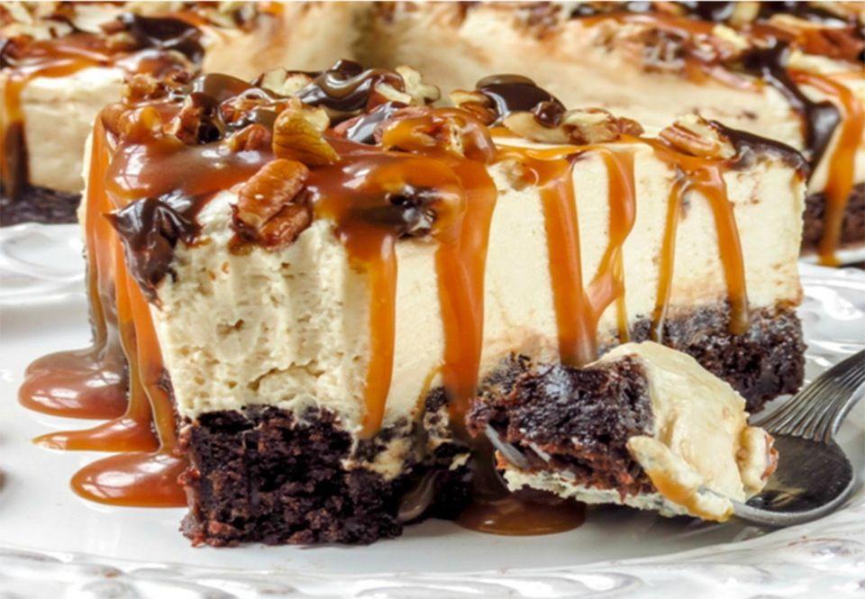 Opskrift på karamelskildpadde cheesecake med nødder