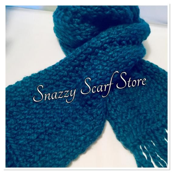 Photo of Chunky Blue Fringe Hand Knitted Scarf, Knitted Scarf, Blue Scarf, Chunky Scarf