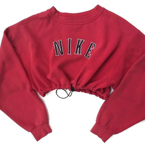 Reworked Sweatshirt Crop Nike €33 On Red ❤ Polyvore Liked RrRSfq