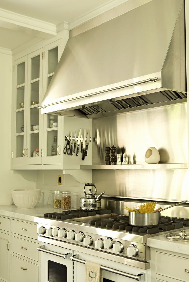Range and Hood in the Kitchen of a Custom Colonial Home