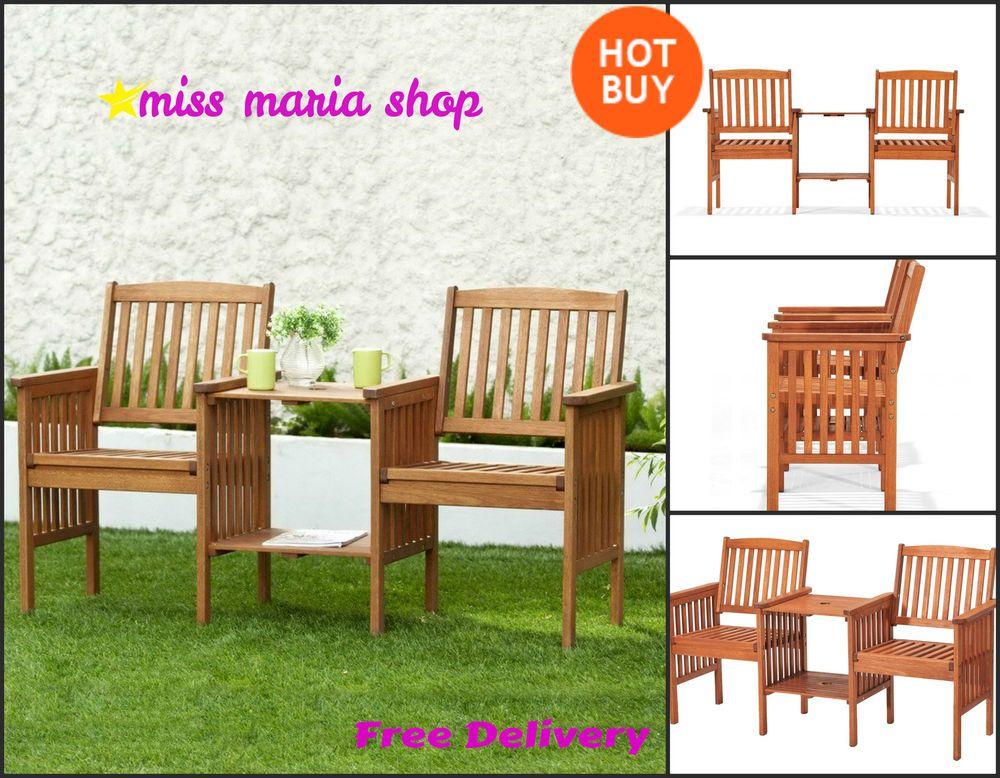 companion garden love seat wooden chairs table jack jill bench patio furniture - Wooden Garden Furniture Love Seats