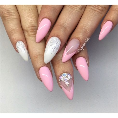 Pink and white almond nails cool nail art pinterest white most beautiful almond shaped acrylic nail art design ideas prinsesfo Images