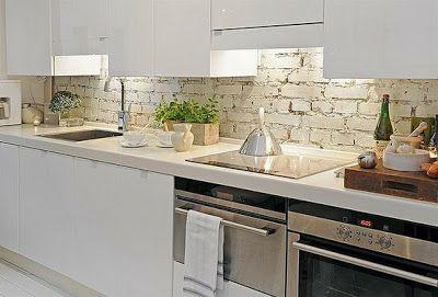 Roughly Painted Brick Modern Kitchen Backsplash White Kitchen