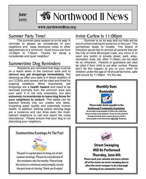 June 2013 – Northwood II (NWII) HOA Community Association Newsletter