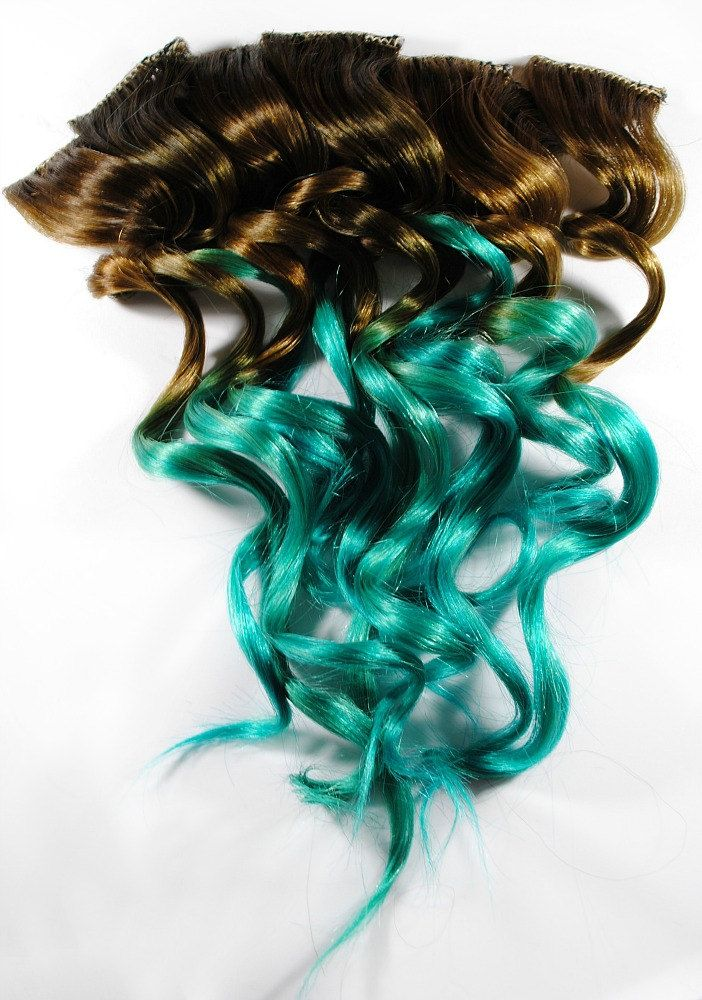Ombre turquoise teal mermaid hair human hair extensions brunette ombre turquoise teal mermaid hair human hair extensions brunette dip dyed tips tie dyed clip ins dark brown blue pmusecretfo Images