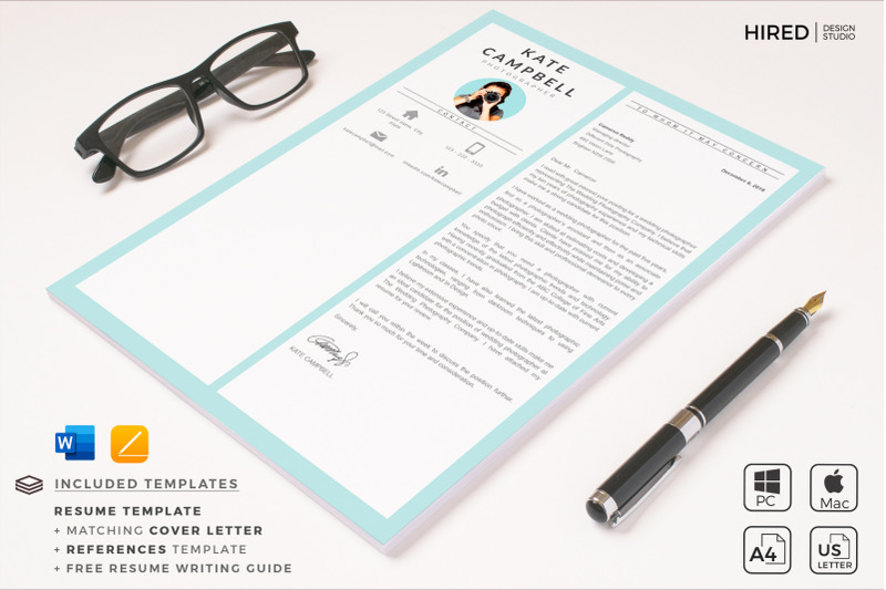 Modern and Creative Resume Template with cover letter and