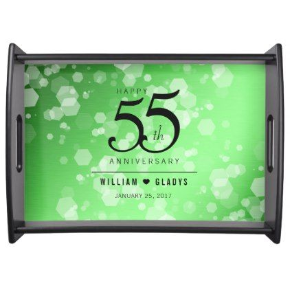 Elegant 55th Emerald Wedding Anniversary Serving Tray