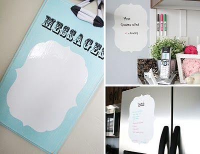 Vinyl message white board!  Great idea!
