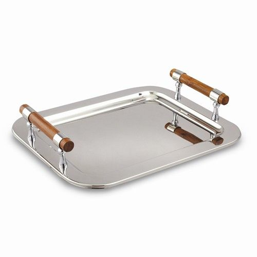 Stainless Steel Med Rectangular Tray w/Wood Handles
