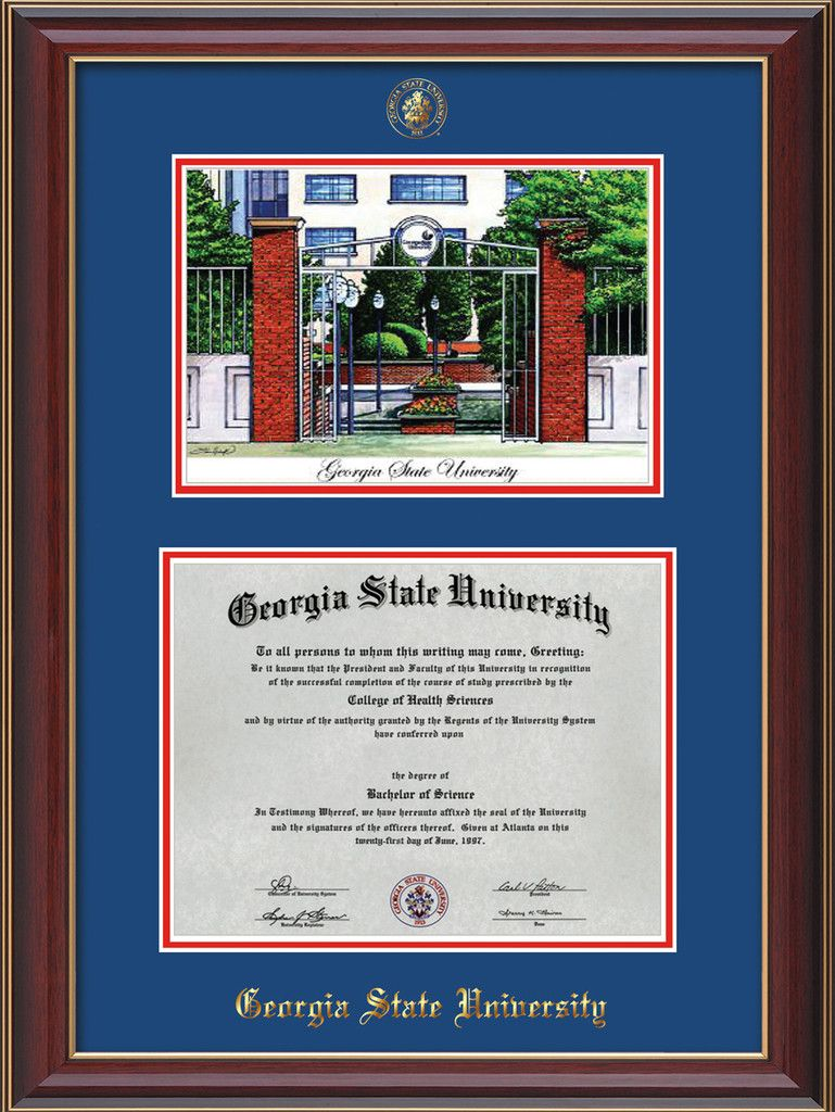 Georgia State University Diploma Frame - Cherry Lacquer - w/Embossed ...