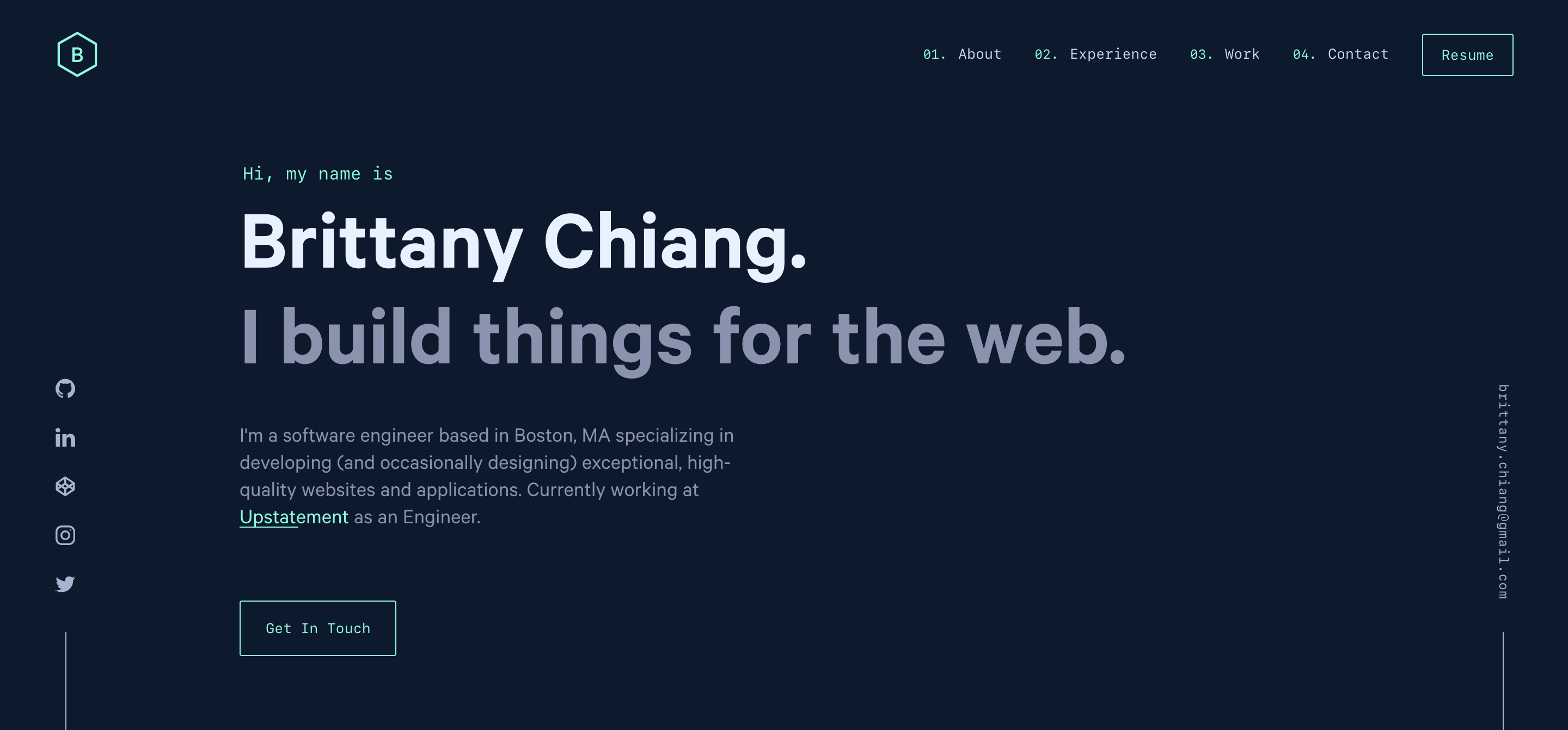 Brittany Chiang Front End Software Engineer Software Engineer Portfolio Website Design Engineering