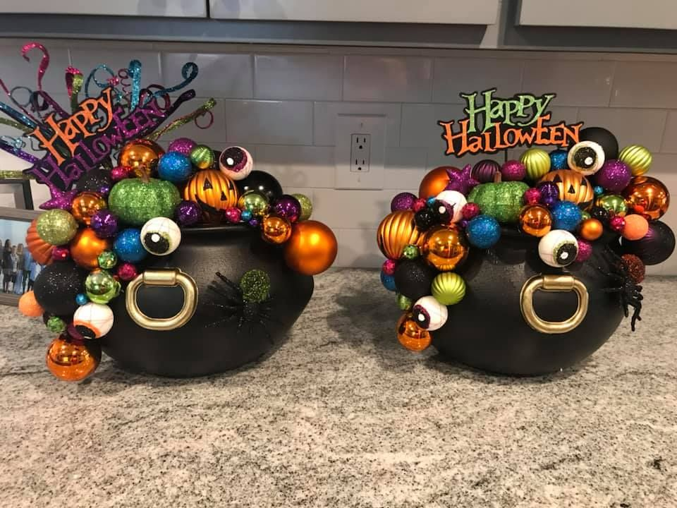 Witches Cauldron To Hang On The Door Made With Ornaments And Dollar Tree Cauldron Halloween Centerpiece Halloween Crafts Decorations Fall Halloween Crafts