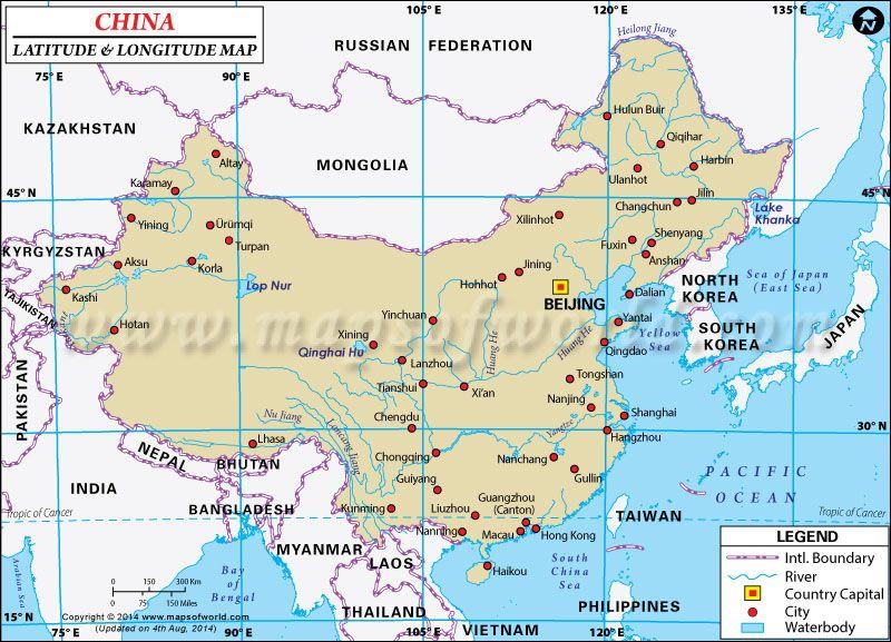 China Latitude And Longitude Map China Pinterest Latitude And