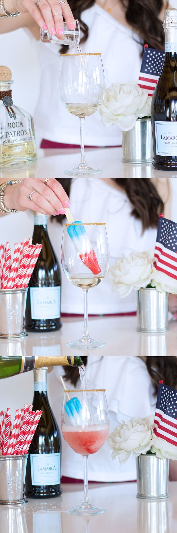 BOOZY POPSICLE DRINKS TO MAKE JULY 4TH EVEN COOLER #champagnepopsicles July 4th Cocktails, Prosecco Popsicle Cocktails for the Fourth of July, Red, White, and Blue Champagne Cocktail for Independence Day on www.me-and-mrjones.com! #champagnepopsicles