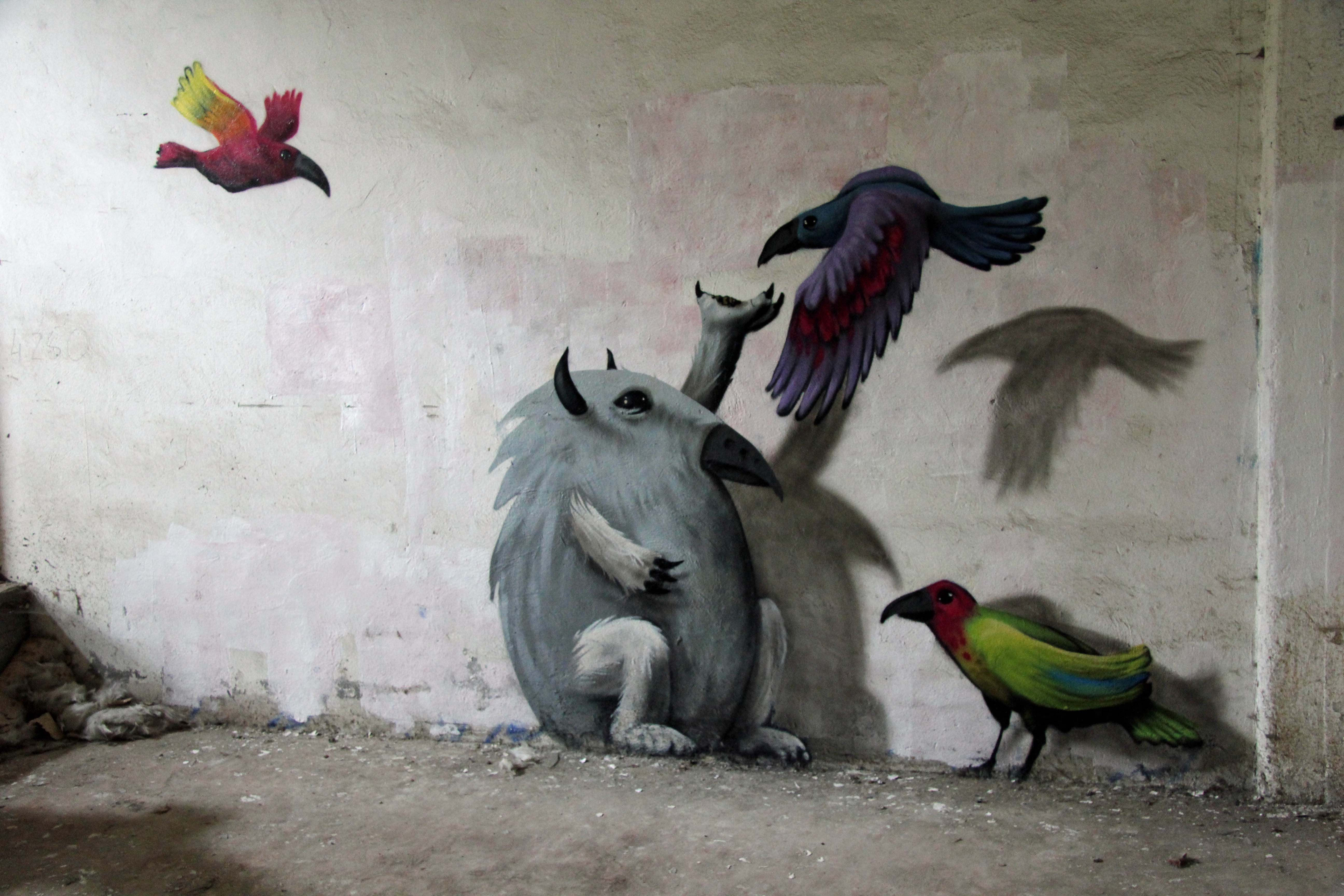 Kim Köster - The Birdman of Wolfswinkel -- http://andberlin.com/2012/10/10/art-on-a-crumbling-canvas-papierfabrik-wolfswinkel/