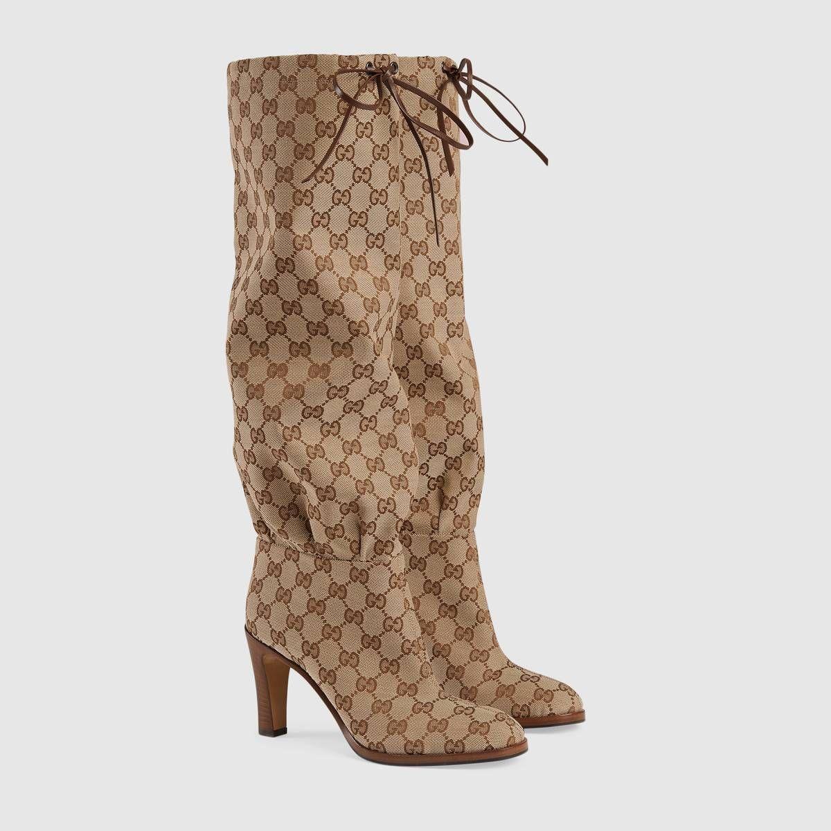 44b7c913286 GG canvas mid-heel boot in Beige and ebony GG Original canvas
