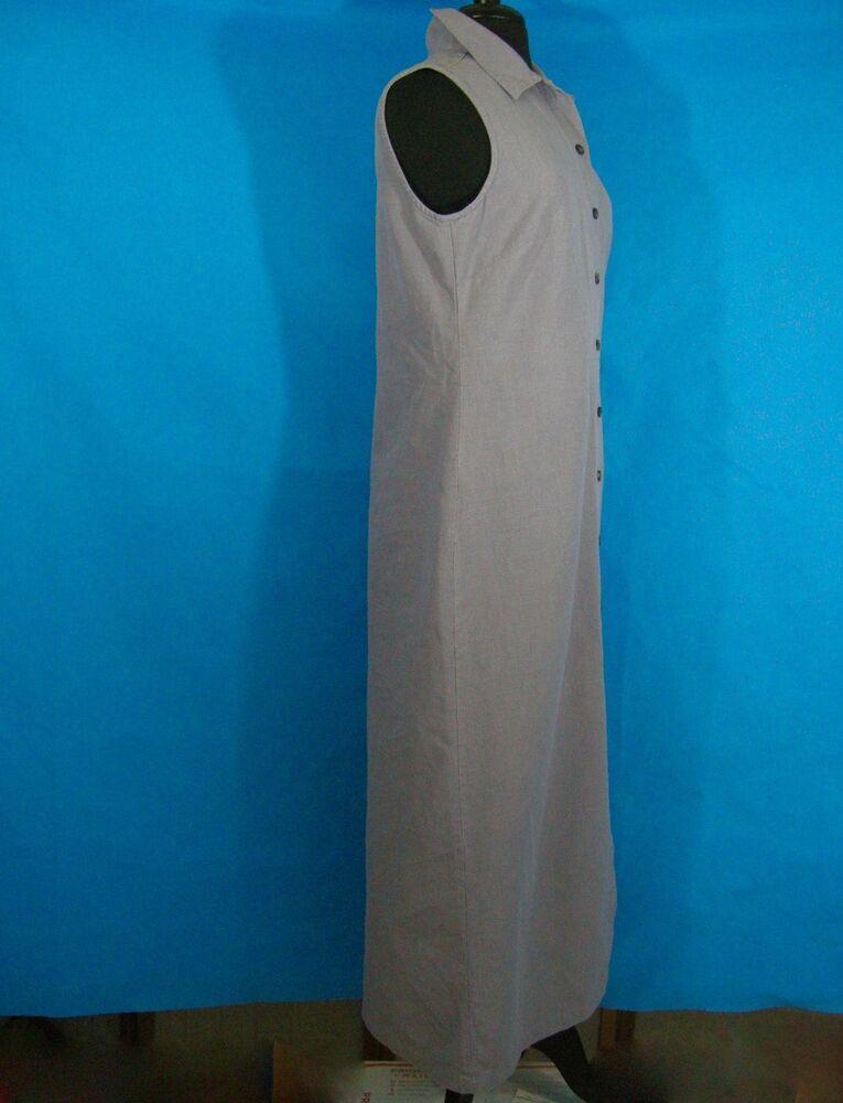 939c15e6fed31 LL Bean Dress Womens 12 Purple Sleeveless Jumper Linen Cotton Long Modest  Button  LLBean