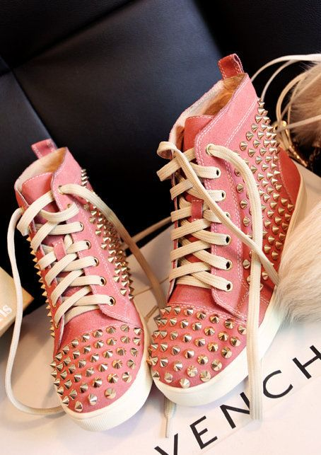 Cute pink spiked Hightop shoes