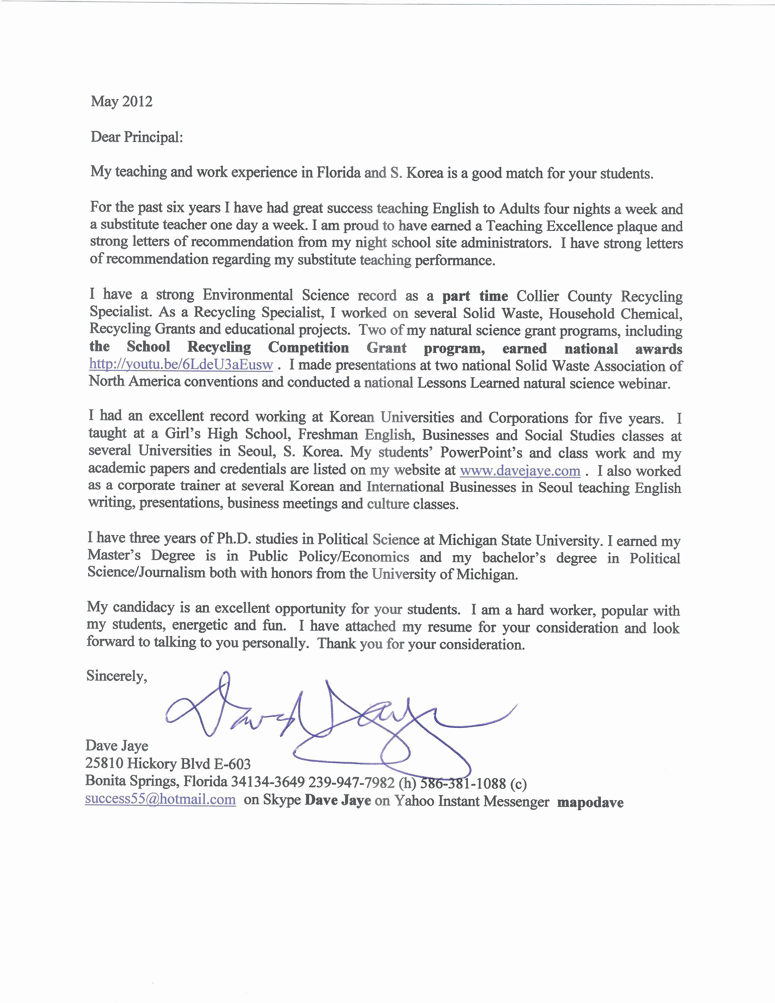 26 Substitute Teacher Cover Letter