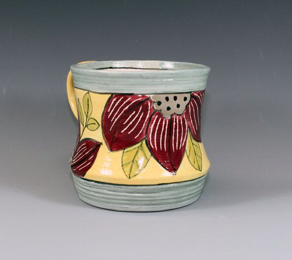 Hand Painted Floral Mug  maroon flowers on yellow by ateliermarla, $30.00